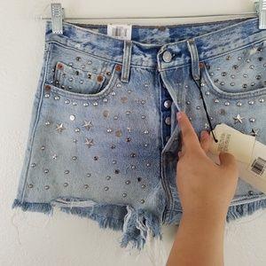 Levi's Shorts - Levi's NWT Studded Distressed Denim Shorts A1